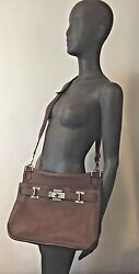 HERMES JYPSIERE $9750 UNISEX 34CM CHOCOLATE BROWN WPALLADIUM STAMP M 2009