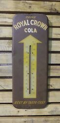 Awesome Original Vintage 1950s Royal Crown Cola Thermometer Sign