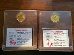 Canadian Maple Leaf Family Privy 1997 1/10 Oz Gold Coin In Assay Error Writing