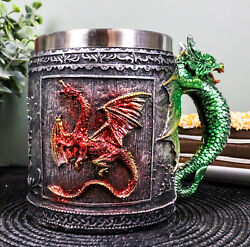 Fire And Earth Dual Dragon Beer Stein Tankard 5.75 Long