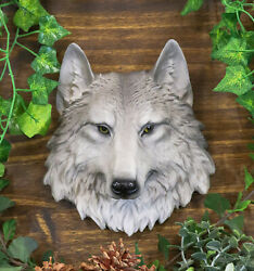 North American Grey Gray Timber Wolf Canis Mini Wall Plaque Bust Sculpture 8.5h