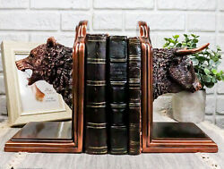 Stock Market Bull And Bear Head Bookends Bronze Electroplated Figurine 8h Each