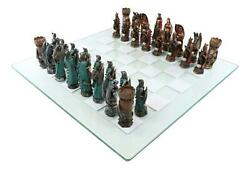 Ebros King Arthur Morgan Merlin Dragons Hand Painted Chess Pieces Glass Board