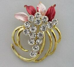 Thai Brooch Flower Crystals Pink Unique Gold-Color Back Beautiful New Nice Chic