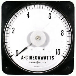Vtg. General Electric 9t Panel Board Type A-c Megawatts Electric Ammeter Gauge
