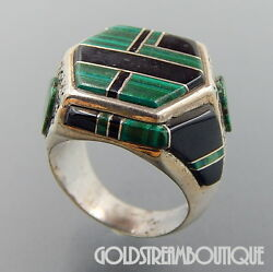 Vintage Zuni Sterling Silver Malachite And Jet Raised Inlay Sun Face Hexagon Ring