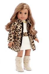 Fashion Girl Clothes for 18 inch Doll Cheetah Coat Cotton Dress High Boots $23.97