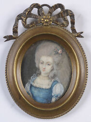 Portrait Of A Young Lady Fine French Miniature On Organic Wafer Ca. 1780