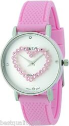 Geneva Pink Silicone Band White Dial Crystals Heart Round Dial Watch-new
