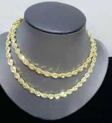 Men Gold Necklace Solid 10k Rope Chain 6mm 20 22 24 26 28 30 Diamond Cut