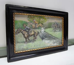 Watercolour/militaria/1908 Signed/possibly Austria Hungary Rider/horses