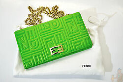 Authentic Fendi Leather Wallet with Chain Cross Body Neon Green NWT