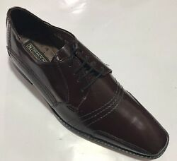 New Stacy Adam's Men's Leather Paramount Burgundy Dress Shoes With Smooth Print