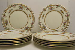 Set Of 12 Royal Doulton Cabinet Plates W/ Yellow And Flowers - Ornate - Jeweled