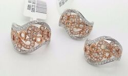 14k Rose Gold White Gold Round Diamond Curved Twist Earrings Ring Jewelry Set