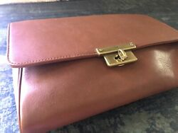 New Fossil Kinley Brown Leather Gorgeous Wristlet Clutch