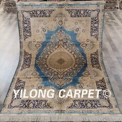 YILONG 5'x7.5' French Style Handmade Silk Carpet European Country Area Rug S24A