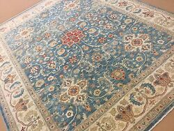 8and039.2 X 10and039.1 Light Blue Beige Fine Oushak Oriental Area Rug Hand Knotted Wool