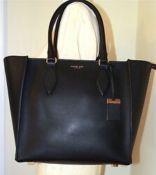 Michael Kors Gracie Black Gold Leather Large Tote