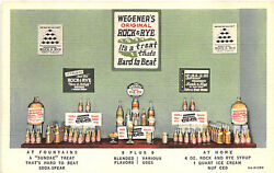 Wegner's Rock And Rye Syrup Ice Cream Fountain Linen Postcard