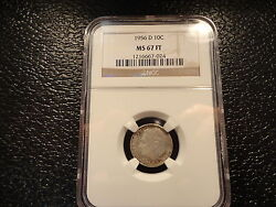 1956-d Dime 10c Ngc Ms-67 Ft =sold At Discount