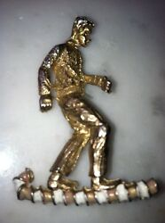 Vtg Figural Creepy Odd Man Gold Tone Brooch Hat Lapel Pin Clip Enamel