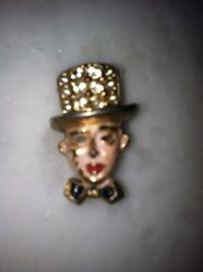 Vtg Rhinestone Figural Creepy Mask Odd Man Brooch Top Hat Lapel Pin Clip Enamel