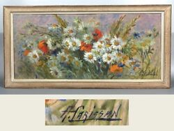 Vintage French Oil Painting Wildflowers Poppies And Daisies, Signed Alice Carissan