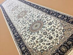 2and039.9 X 12and039.6 Ivory Blue Fine Quality Oriental Rug Runner Handmade Wool And Silk