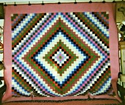 Amish Sunshine And Shadow Antique Quilt Ohio C 1930 Cottons King Sized