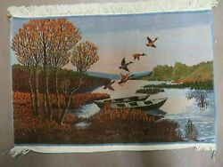 2and039 X 3and039 Vintage Hand Made Pakistan Pictorial Rug Carpet Scenery Bird Tree Wow