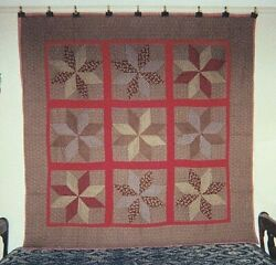 Pinwheel Stars In Red Sashing Antique Quilt From Canton Ohio C 1880 Cottons