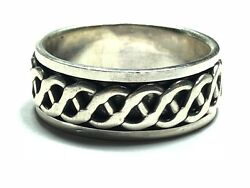 Awesome Menand039s Solid Sterling Silver Spinner Ring - Never Worn - Sz 10 - Free Sandh