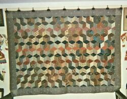 Tumbling Blocks Antique Quilt Tied Comforter C.1880s Cottons From Nj
