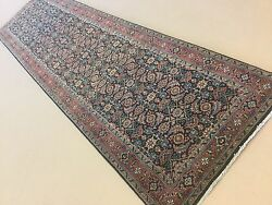 2and039.8 X 9and039.10 Navy Blue Fine Geometric Oriental Rug Runner Hand Knotted Hallway