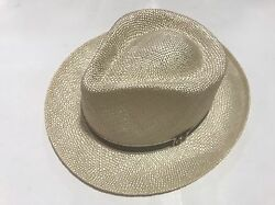 Mens Stetson Ivory Hat,fedora Style Pinch Front Summer Brown And Orange Band New