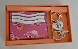 NIB Coach Gift Set Of  Leather Card Case+Valet Keyring PinkFlowers Great Gift!