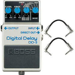 Boss DD-3 Digital Delay Guitar Effects Pedal Stompbox Footswitch + Patch Cables