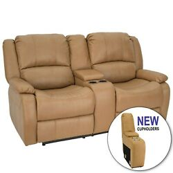 Recpro Charles 67 Double Rv Zwr Zero Wall Hugger Recliner Sofa Toffee W Console