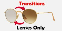 TRANSITIONS BROWN RB3447 Round Metal Anti Glare Replacement Lenses Ray Ban 50mm