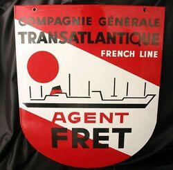 Cgt French Line Freight Agent Enameled Metal Sign