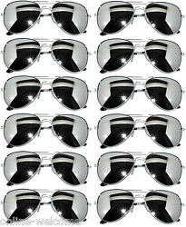 WHOLESALE 12 SILVER MIRROR AVIATOR STYLE SILVER METAL FRAME SUNGLASSES SET OF 12