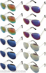WHOLESALE SET OF 12 AVIATOR STYLE SILVER METAL FRAME MIRROR LENS SUNGLASSES MIX