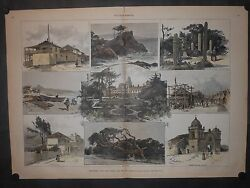 Monterey And Hotel Del Monte California 1887 Engraving Hand Color Cactus Mission