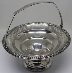 Antique Sterling Silver Nut Bonbon Reticulated Candy Bowl W/ Handle Dbw