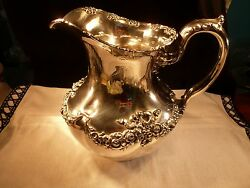 Antique Rare Stunning Sterling Silver Howard Company Water Pitcher Hand Chased