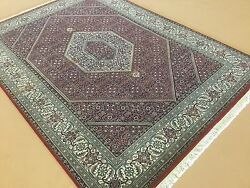 5'.0 X 6'.11 Red Very Fine Wool And Silk Geometric Oriental Rug Hand Knotted