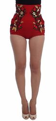 Dolce And Gabbana Shorts Red Silk Pearls Roses Hot Pants It40 / Us6 /s Rrp 3800
