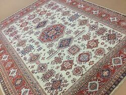 7'.10 X 9'.6 Beige Red Fine Geometric Oriental Area Rug Hand Knotted Wool