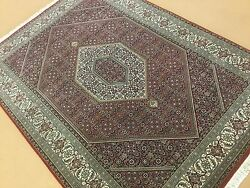 5' X 7' Red Beige Very Fine Wool And Silk Geometric Oriental Area Rug Hand Knotted